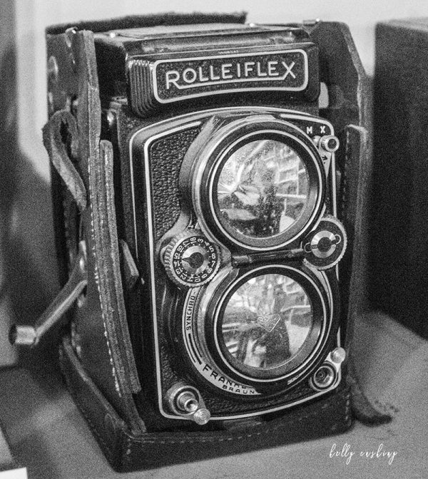 Vintage Rolleiflex Camera in Black and White