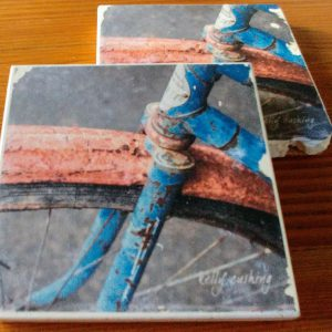 Blue Bike Wheel Coasters