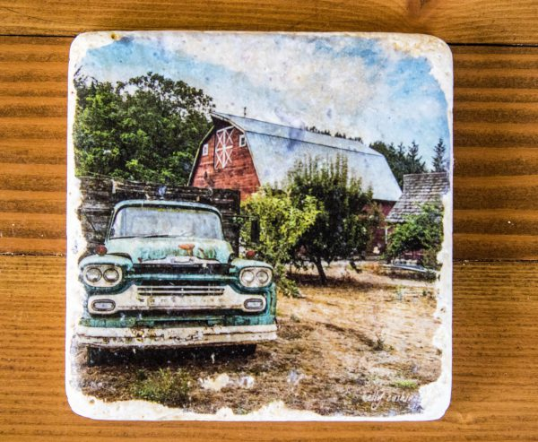 Green Chevy and Barn Coaster