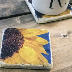 Half Sunflower Coaster by Kelly Cushing