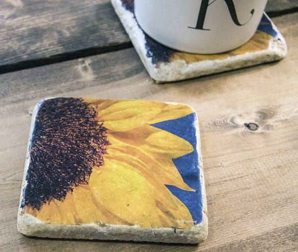 Half Sunflower Coaster by Kelly Cushing