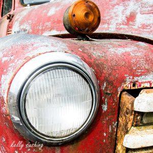 Red Chevy Truck Headlight, Chilliwack, BC