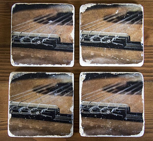 Set of 4 Guitar Bridge Coasters by Kelly Cushing