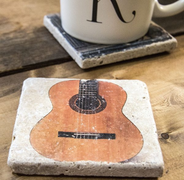Guitar on White Coaster by Kelly Cushing