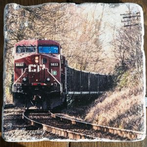 Burnaby CP Train Coaster by Kelly Cushing