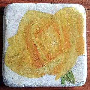 Yellow Rose Coaster by Kelly Cushing