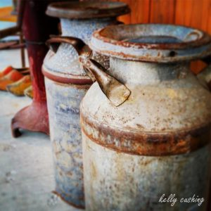 Milk Jugs at a Cheese Farm in Chilliwack, BC
