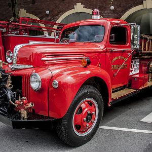 Vintage Abbotsford Fire Truck at a carshow in New Westminster, BC