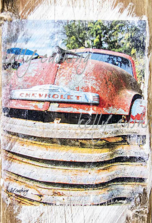 Wall Decor of Vintage Red Chevy Truck