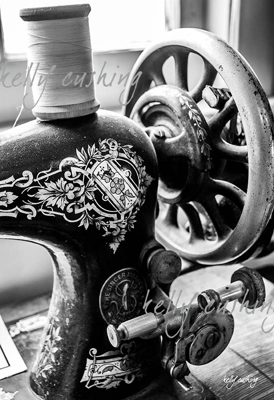 Black and White Sewing Machine