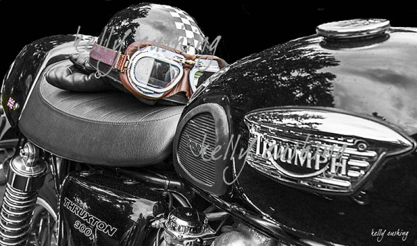 Triumph Motorcycle and Helmet