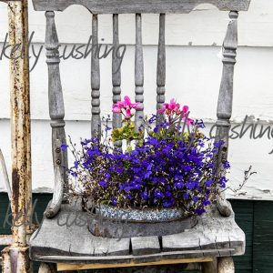Vintage old chair with flowers