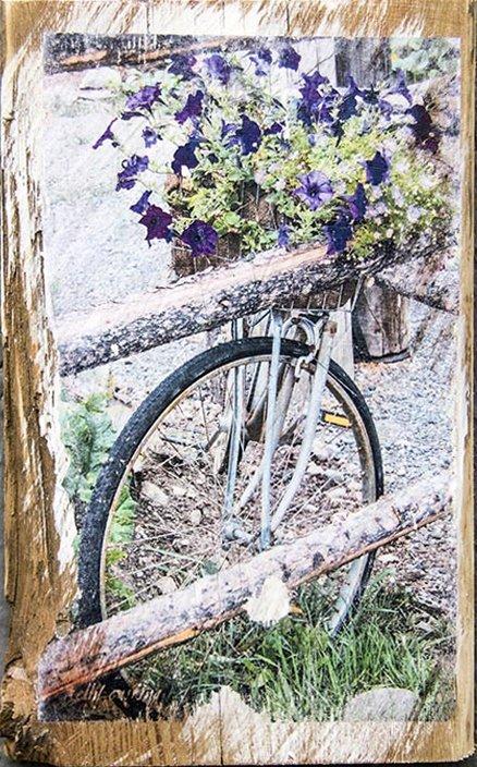 Bike with Purple Flowers Wall Decor