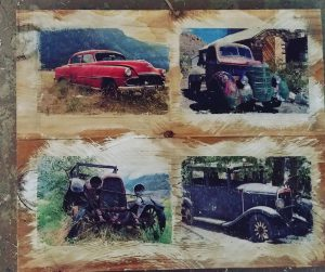 4 Vintage Trucks on Reclaimed wood