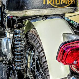 Seat of a Vintage Triumph Motorcycle