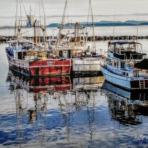 A canvas print of boats at Steveston Pier