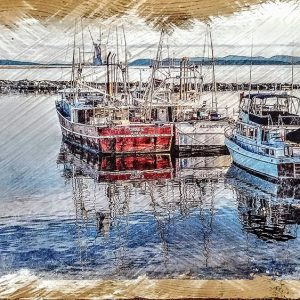 Boats at Steveston Pier Wood Decorby Kelly Cushing