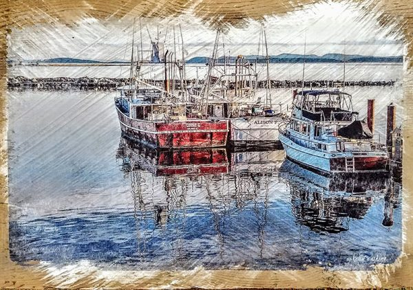 Boats at Steveston Pier Wood Decorby Kelly Cushing